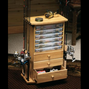 Cabela's Cabelas 10-Rod/3-Drawer Rack with Utility Storage - Oak