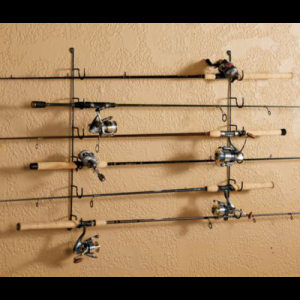 Rack'Em Six-Rod Horizontal Wall Rack - Black (6 ROD)