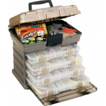 Plano 4-By Rack System Tackle Storage - Deep Grey Metallic/Gold/Clear