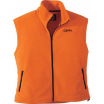 Cabela's Men's Base Camp Fleece Blaze Vest - Blaze Horizon 'Dark Orange/Black' (MEDIUM)