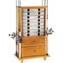 Organized Fishing Open Top Two-Drawer Cabinet Rod Rack - Oak