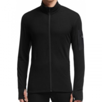 Icebreaker Men's Compass Long-Sleeve Zip Jacket - Black/Black (LARGE)